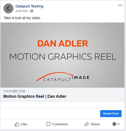 YouTube link in Facebook feed